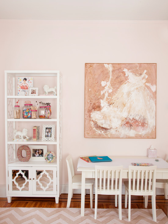 Exciting Kids Craft Table With Storage : Eclectic Kids Craft Table Against The Wall With Chairs Art And The Bookcase