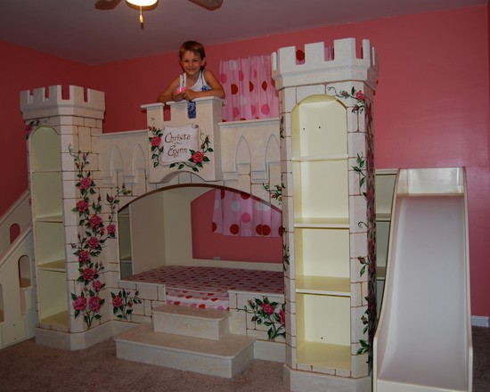 Amazing Kids Rooms Decorating Ideas For Girls: Eclectic Kids Custom Girls Princess Bed And Slide And Staircase Designed For A Make A Wish Foundation Child