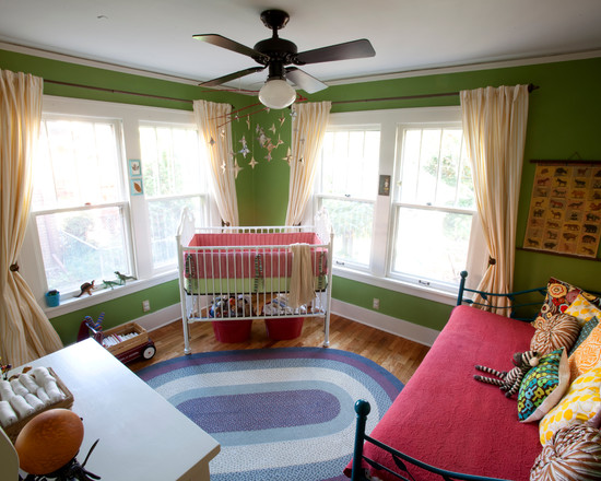 Interesting Unisex Baby Room Themes: Eclectic Kids Green Bright Colored Nursery Has Plenty Of Eye Cand Dark Ceiling Fan This Softens The Hard Lines In The Room And Adds Even More Interest  ~ stevenwardhair.com Design & Decorating Inspiration