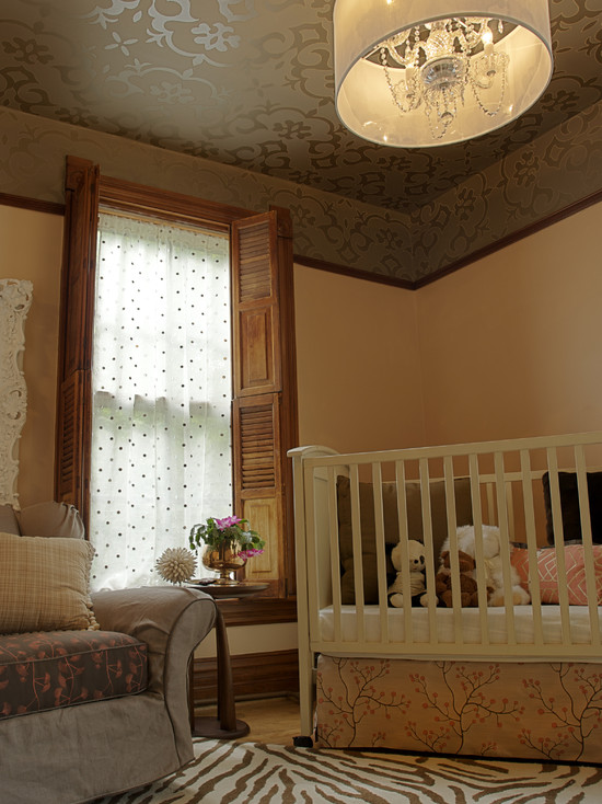 Cozy Leaf Printing On Wallpaper: Eclectic Kids Leaf Printing On Paper Ceiling And Chandelier Plus Cradle