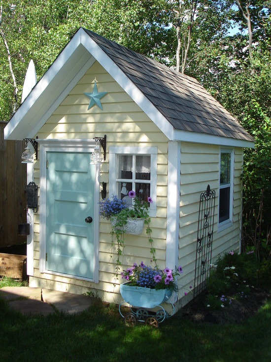 Design Your Own Garden Playhouses For Children: Eclectic Kids Pretty Little Quaint Playhouse Potting And Garden Shed Bright Color