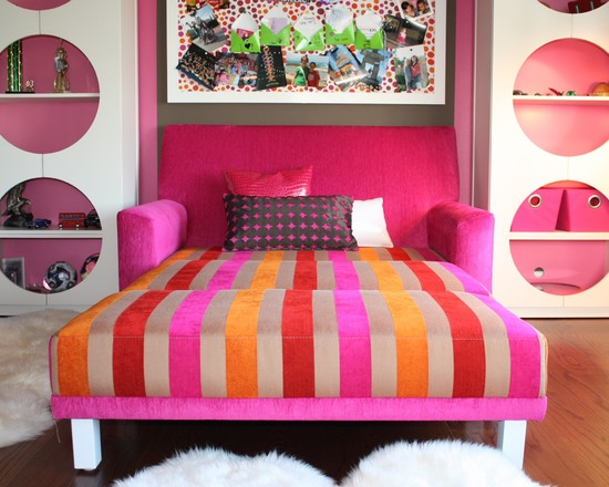 Functional Fold Up Couch Bed Designs : Eclectic Kids Room And Nurseries Custom Made Fold Out Couch Pink Red Yellow Shape Idea