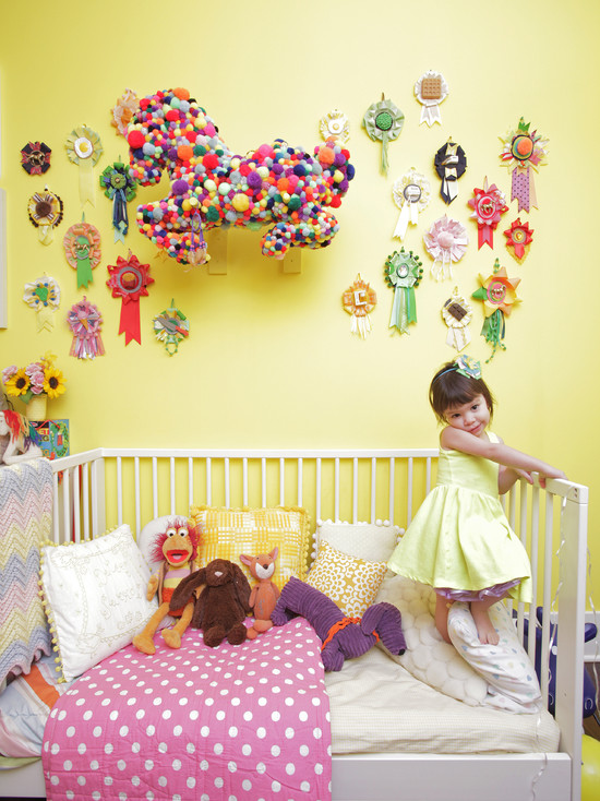 Amazing Kids Rooms Decorating Ideas For Girls : Eclectic Kids Rooms Decorating Ideas For Girls With The Pull Ball Pony Or Anything Covered In Puff Balls Idea And Pom Poms Sculpture And Salon Hanging Kids Room