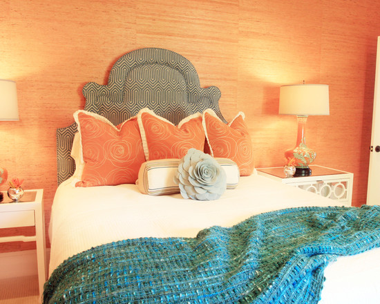 Beautiful Turquoise Girls Room: Eclectic Kids Tangerine With Turquoise Deep Purple Navy Fuscia Orange And The Rose On Bed