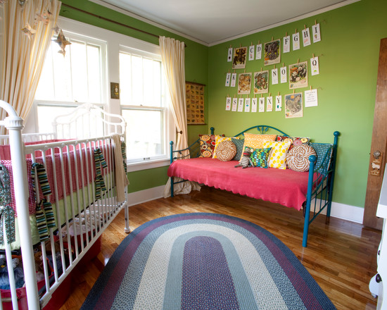 Interesting Unisex Baby Room Themes : Eclectic Kids With Green Wall Art Alphabets Letters On Wall Flash Cards Twin Bed Wood Trims Bulbs With Glass Doorknobs Wooden Laminate Floor