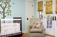 Room Decor With Insulated Roman Shades : Eclectic Kids With Roman Blinds Are Made To Hang Flat Against The Window With No Sill Arm Chair And Wooden Glossy Cradles Blue Wall