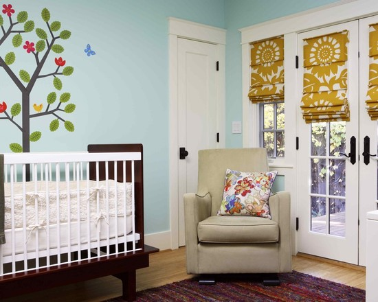 Room Decor With Insulated Roman Shades: Eclectic Kids With Roman Blinds Are Made To Hang Flat Against The Window With No Sill Arm Chair And Wooden Glossy Cradles Blue Wall ~ stevenwardhair.com Bedroom Design Inspiration