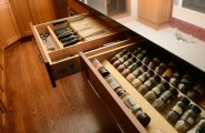 Amazing Kitchen Design With Drawer Inserts : Eclectic Kitchen Spice Drawer And Built In Knife Kitchen Draw Inserts