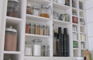 Awesome Pantry Shelves Designs : Eclectic Kitchen White Simple Pantry Shelves Designs