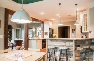 Exciting Pallet Wood For Home Decorating And Furniture : Eclectic Kitchen With Pallet Wood Kitchen Island Wooden Barstool Modern Pendant Lamp And Wooden Dining Table With Chairs And Pallet Wood Floor