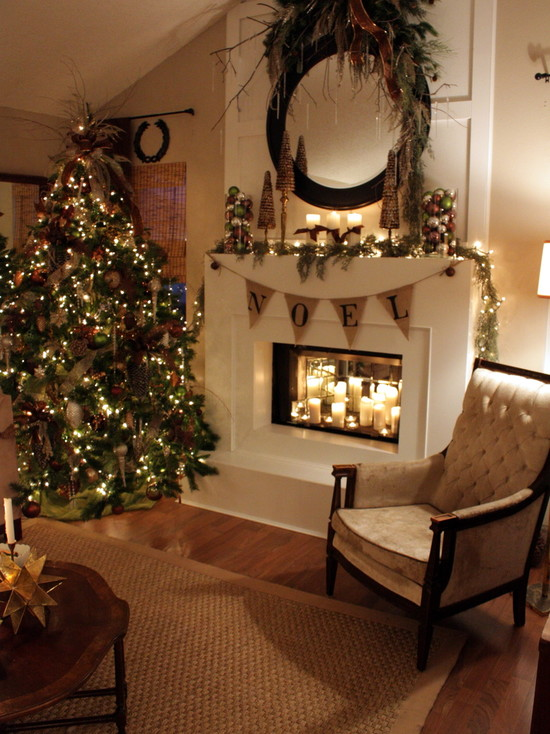 Beautiful Pictures of Mantels Decorated Special For Christmas: Eclectic Living Room Christmas Tree Ornaments Vintage Arm Chairs And Candles
