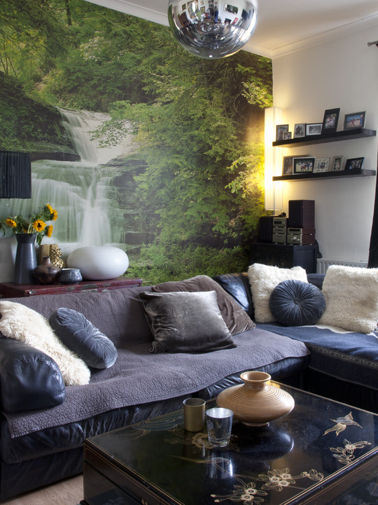 Beautiful Wall Murals For Living Room: Eclectic Living Room Excellent Gray Sofa Waterfall Mural In Background Brings Nature In Photo Mural For Basement Walls ~ stevenwardhair.com Design & Decorating Inspiration