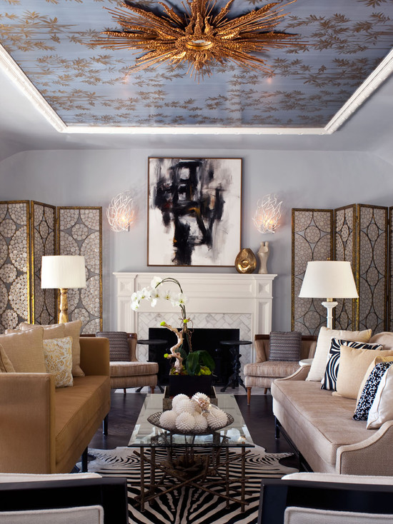 Beautiful Chinoserie Wallpaper To Make Room In Your Home Look More Classy: Eclectic Living Room Symmetrical Design Draws The Eye Immediately Up To The Chinoserie Wallpapered Ceiling And Ceiling Fixtur