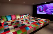 Functional Fold Up Couch Bed Designs : Eclectic Media Room Giant Bed With Lots Of Pilots Woth Colorful Ideas