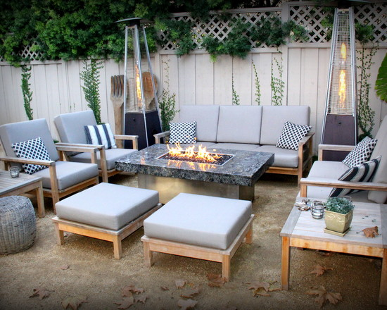 Terrific Propane Fire Pits Table For Decks And Patio : Eclectic Patio Fire Pit With Flame Heaters Add A Nice Amount Of Heat Plus Tall Fire Antern And Propane Fire Pit Table
