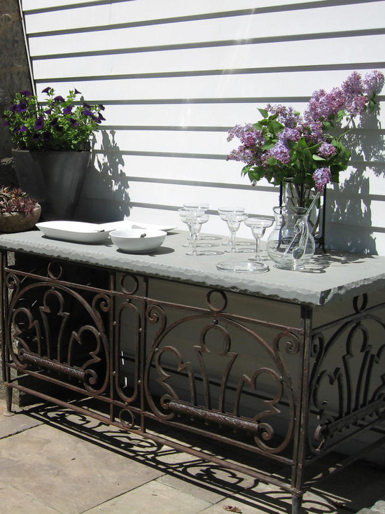 Using A Variety Of Buffet Table: Eclectic Patio With Buffet Table Console Table Built From A Balcony Grill And A Giant Slab Of Bluestone
