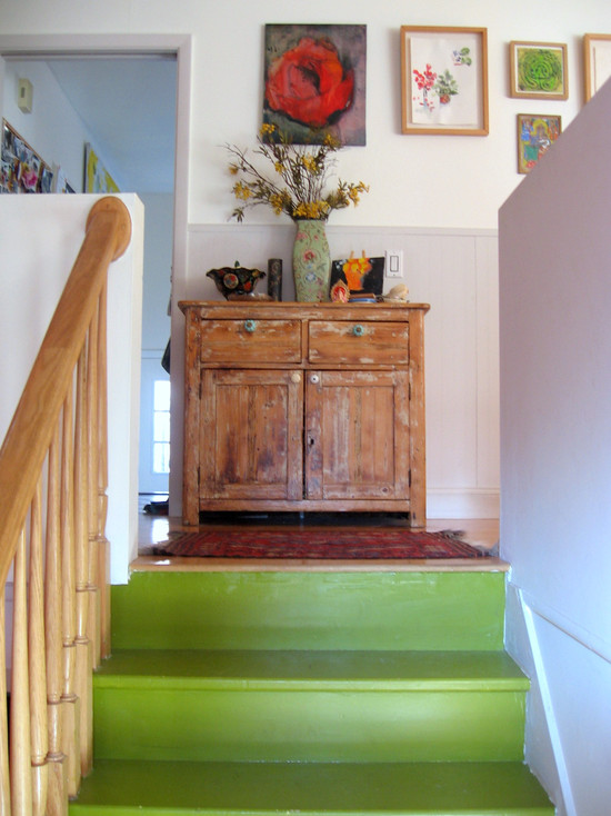 Amazing Asian Paint Wall Colors Gallery: Eclectic Staircase At Lime Green Hue Playful And Cherry Perfect Entrance And Asian Paint Wall Colors
