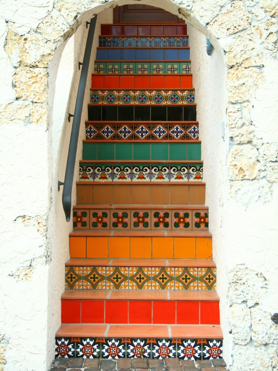 Floor Tiles Stairs Design Ideas : Eclectic Staircase Colorful Floor Tiles Stairs