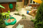 Wonderful Backyard Landscaping Ideas For Kids : Eclectic Urban Backyard Landscaping Ideas Recycled Tiles And A Child Proof Water Feature Create A Playful Space Multi Use Patio Sand Box And Table For Kids