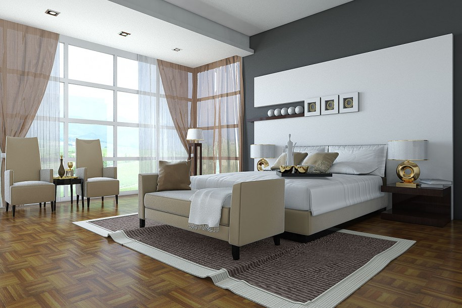 Sleek Bedroom Decor Ideas With Integrated Room : Elegant Bedroom Design Design Brown Bed Frame Brown Tranparent Curtain With Extraordinary Wooden Floor Ideas And Brown Bed Bench