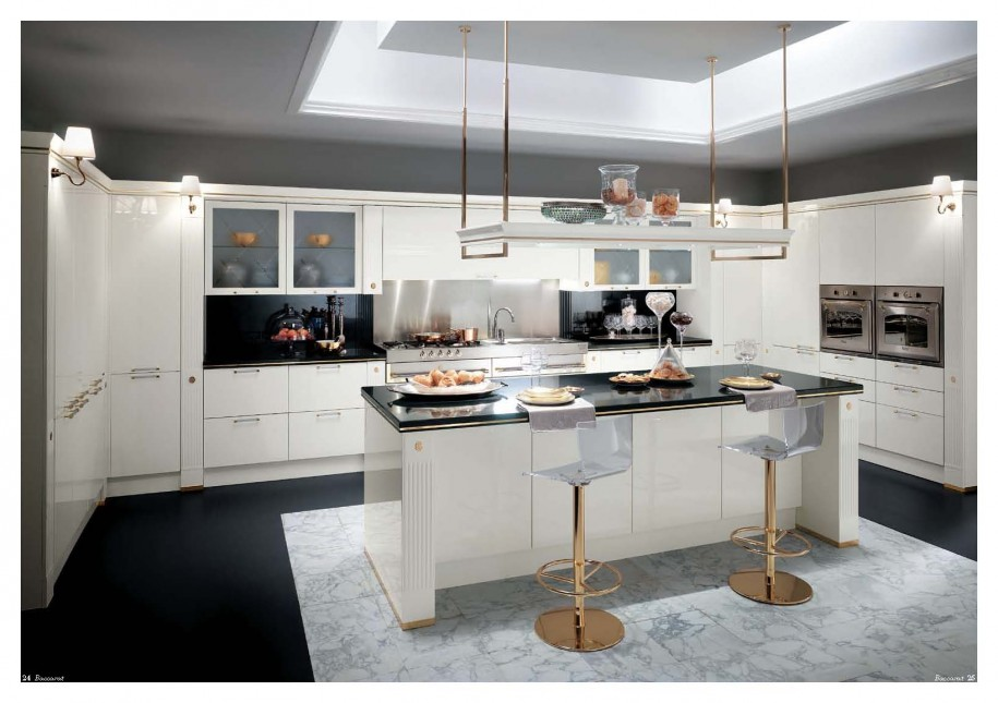Rich Culture Comfortable Cooking Area Lovely Italia Kitchen: Elegant Italian Kitchen Design With Amazing Kichen Island Design Ideas And Great Appliances In White With Decorative Deciling Unit
