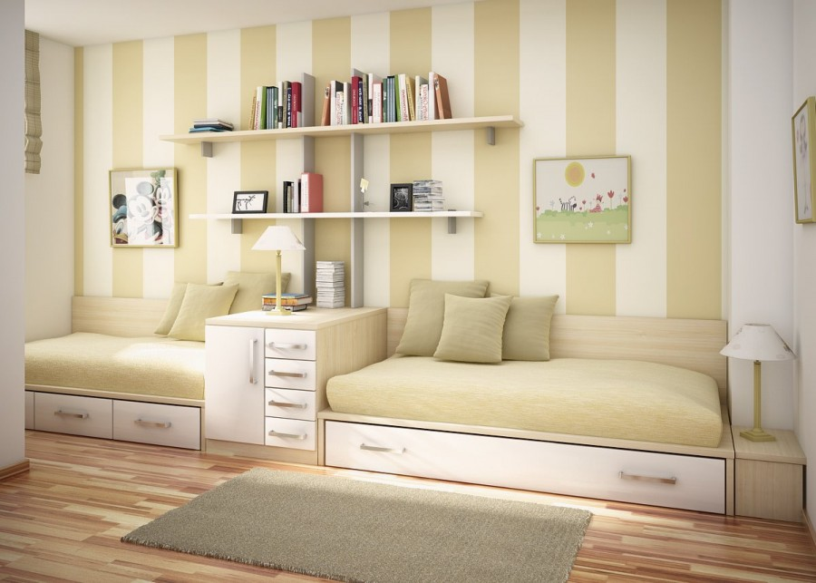 Decorating Ideas: Cool Room For Teenagers: Elegant Light Brown SchemeTeenagers Room Decorating Ideas With Wooden Bed White Drawer And Bookshelf In Front Of Brown White Stripe Wall With Rug On Wooden Flooring Ideas