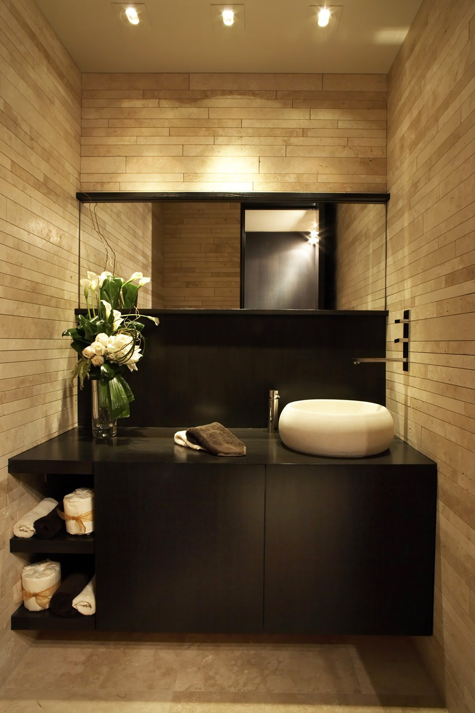 Luxury Apartment With Integrating Panoramic Window: Elegant Modern Bathroom Design With Light Brown Marble Wall Tile And Bathroom Vanities