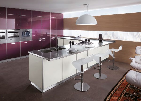Rich Culture Comfortable Cooking Area Lovely Italia Kitchen : Elegant Modern Minimalist Italian Kitchen Design With Amazing Kichen Island Design Ideas And Purple Cabinets