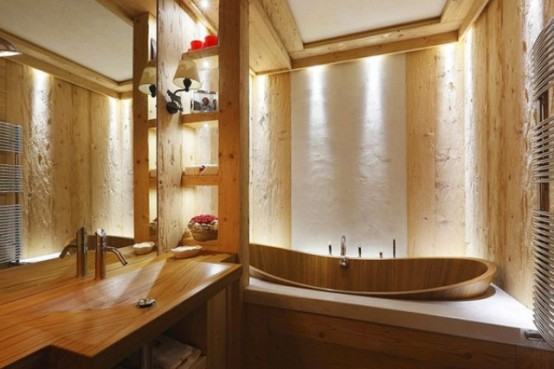 Natural Rustic Wood Apartemen: Elegant Rustic Apartment In Natural Wood Bathup With Dressing Mirror With Vertical Cabinet With Natural Lights