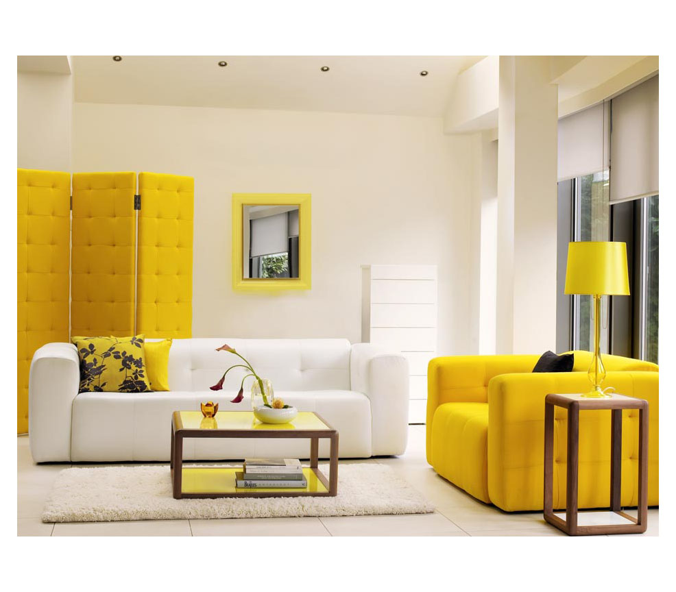 Sunny Yellow Paint Colors Make Your Living Room Feels Warm : Elegant White Yellow Living Room Decoration