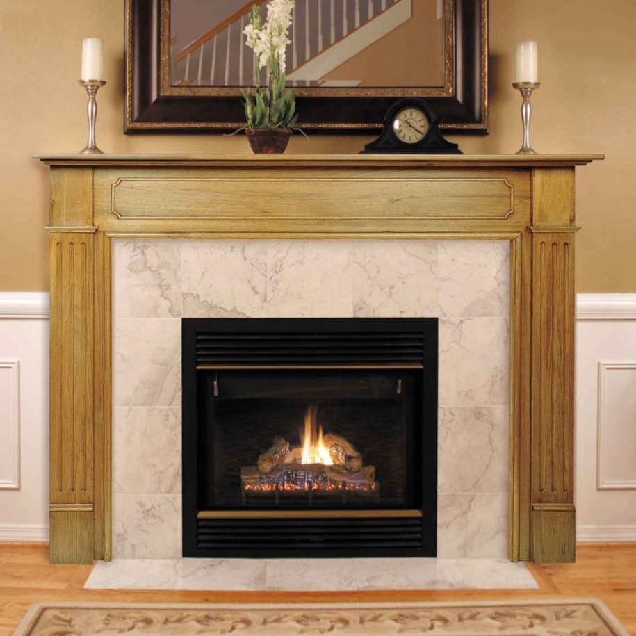 Modern Stone Models Fireplace For Simple Home Decoration: Elegant Wooden Ceramic Fireplace Mantel Kits Design With Candles Contemporary Fireplace Mantels