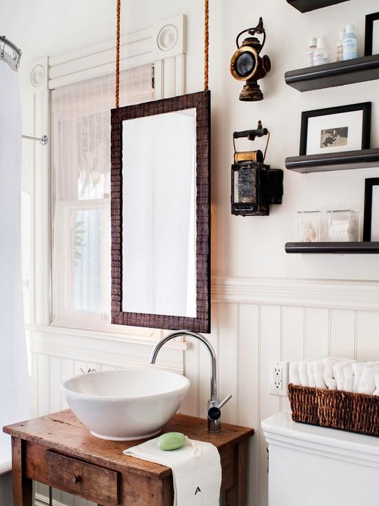 Hanging A Fabulous Bathroom Mirror : Enchanting Eclectic Bathroom Hanging A Bathroom Mirror Items Hanging On The Wall Of Antique Nautical Lanterns Sconces Hanging Could Allow A Larger One
