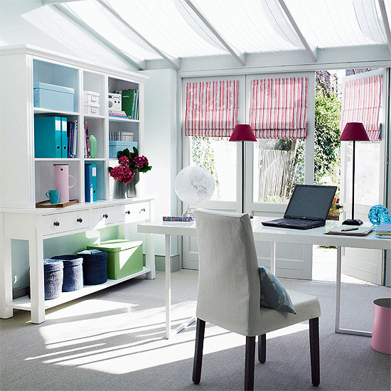 Mesmerizing Office Decor Ideas : Enchanting Fresh Home Office Decor To Bring Spring To Your Home Sunny Bright White Shelves Desk Chair Roof Window Sil Twin Pink Hood Lamps Stripes Curtain