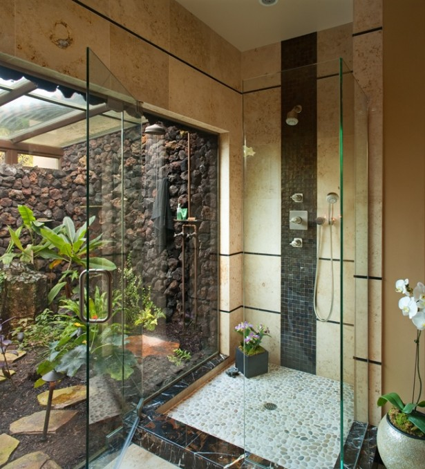 Cotemporarry Tropical Bathroom Decor Ideas That Back To Nature: Enchanting Natural Bathroom Designs Ideas Shower Gravel Floor Tiles Clear Glass Partition Clear Glass Sun Roof Bright Green Plants White Orchid In A Pot ~ stevenwardhair.com Bathroom Design Inspiration