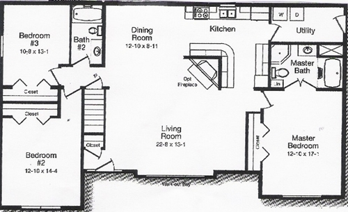 Excellent Home Living Open Floor Plan Design Ideas : Excellent 3 Bedroom Windham Open Floor Plan Drawing