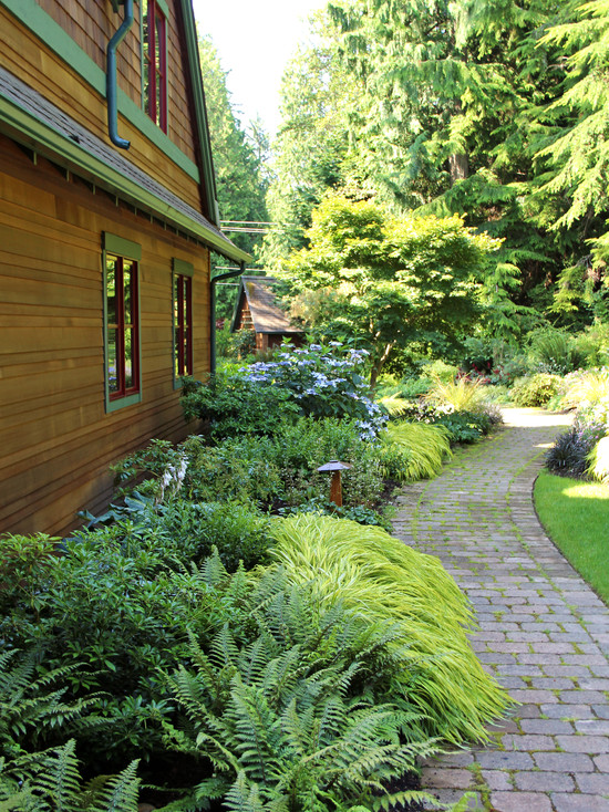 Excellent Landscaping Shaded Areas: Excellent Contemporary Landscape Landscaping Shaded Areas Ferns For A Shady Area Along The Walkway Curved Footpath And Use Of Plants