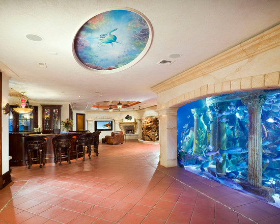 Innovative Modern and Colorful Fish Tanks: Excellent Mediterranean Basement Colorful Fish Tanks Tank Is An Understatement For This Lavish Enormous Aquarium