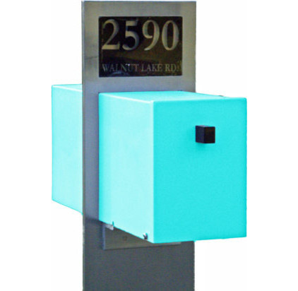 Miscellaneous Fence Mounted Mailbox : Excellent Retro Modern Mailbox By Retro Handmade Uniques With An Illuminating Custom Address Plaque And A Minimalist Modern Post This Unique Mailbox Is Available In Several Punchy Colors