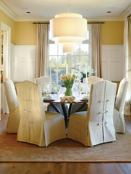 Amazing Christmas Chair Cover Ideas : Excellent Traditional Dining Room Christmas Chair Cover Ideas Nice Detail On The Backs Of The Chairs Plus Pinch Pleats At The Tops Of The Draperies Add Exquisite Top Notes To This Dining Room