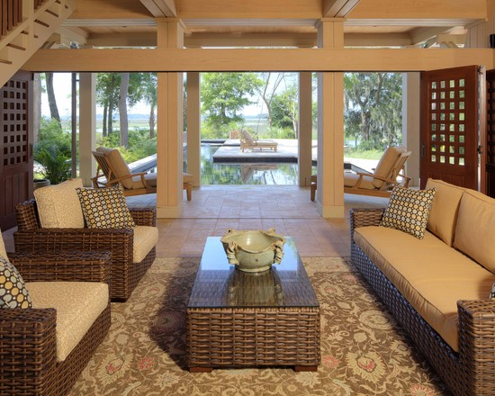 Pictures Of Restoration Hardware Outdoor Pillows : Excellent Tropical Porch Restoration Hardware Outdoor Pillows Carries On Through Porch Pool And Beyond To Into The Coastal Marsh Furniture Is Used To Reinforce The Lines Of The Architecture