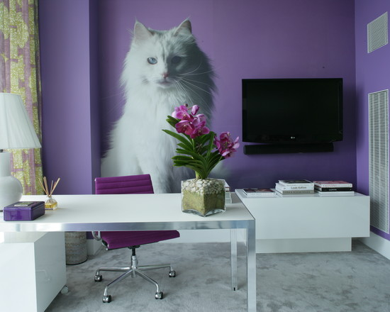 Use Contemporary Cat Trees For Your Beautiful And Cute Home Decoration : Exciting Contemporary Home Office Contemporary Cat Trees The Mix Was A Way Of Getting As Close To The Wallpaper Ground As Possible Double Yuk With Purple Wall And White Cat