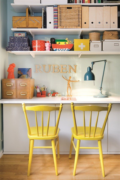 Colorful Home Office Design Ideas: Exciting Cute Study Rooms And Small Hanging Bookcases And Small Desks With Lampsand Yellow Wooden Chair With Wooden Flooring