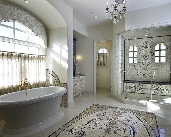 Beautiful Mosaic Ideas For Bathrooms: Exciting Eclectic Bathroom Mosaic Ideas For Bathrooms Mosaics On Floor And In Shower Hey Are All So Inviting And Glamorous Without Being Over Stated