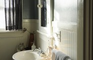 Cozy Wall Paneling Styles : Exciting Eclectic Bathroom Wall Paneling Styles Bead Board And Walls Are Semi Gloss For Better Light Wall Medicine Cabinet Bathroom Walls No Tile