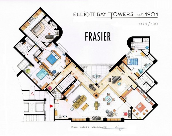 Excellent Home Living Open Floor Plan Design Ideas : Exciting Floor Plans Of Homes Frasiers Apartment Open Floor Plan