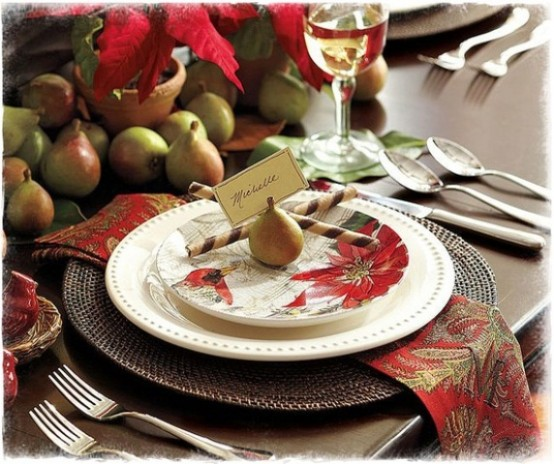 Traditional Collection Vintage Christmas idea : Exciting Traditional Collecti Table Setting Reddish Small Pears As A Center Piece Small Ceramic Bird On A Nest Decoration Elegant Name Tag And Napkin