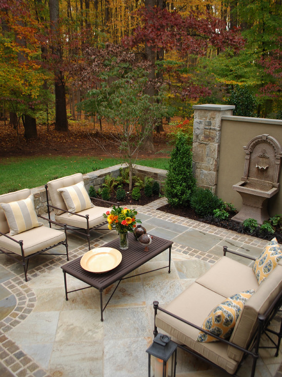 Pictures Of Restoration Hardware Outdoor Pillows : Exciting Traditional Patio Restoration Hardware Outdoor Pillows Living Space With A Fountain As A Focal Point Instead Of A Fireplace The Relaxing Sounds Of Water Will Create A Wonderful Atmosphere
