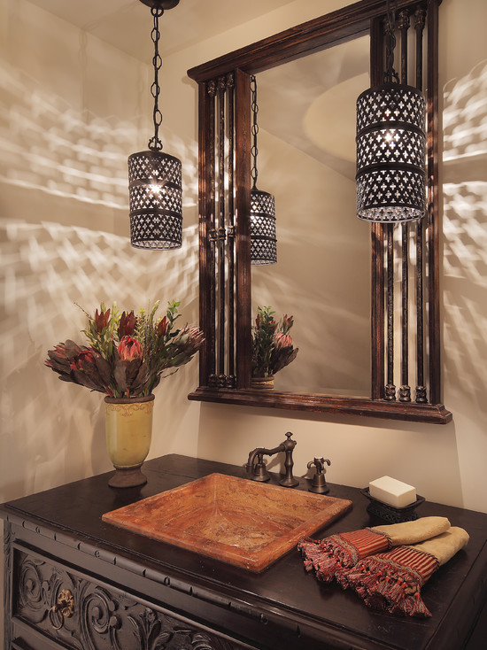Amazing Moroccan Lanterns and Lamps : Exotic Moroccan Lanterns Feature A Hand Cut Pattern Which Allows An Hypnotic Light To Dance At Mediterranean Powder Room And Petite Moroccan Style Pendants