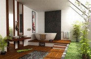 Fascinating Wooden Japanese Bathroom Deign For Relaxation : Exquisite Japanese Bathroom With Loads Of Space And Green Wooden Deck
