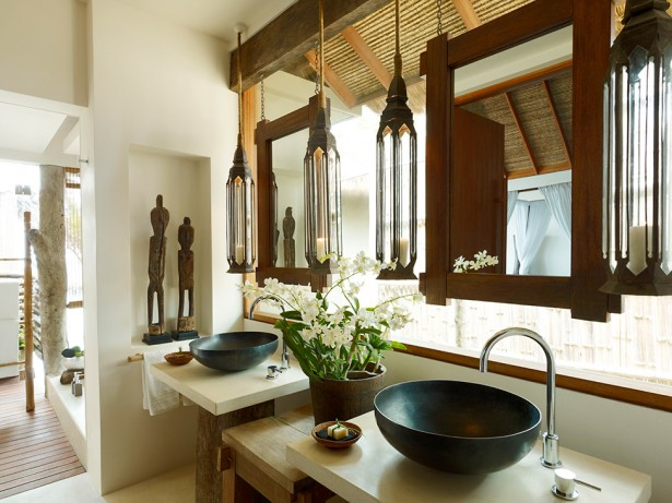 Song Saa : Private Remote Island Resorts In Cambodia: Exquisite Private Remote Island Villa Bathroom Interior Design With Hanging Mirror And Vessel Sink Ideas ~ stevenwardhair.com Bed Ideas Inspiration